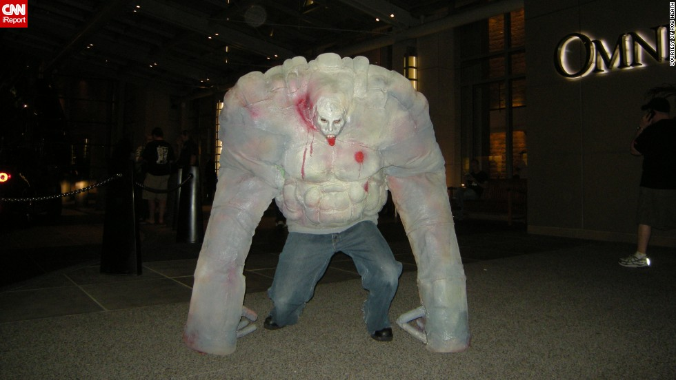 "It took Rob Heath three months to create his Tank costume based on the popular video game series <a href=""http://ireport.cnn.com/docs/DOC-1040908"" target=""_blank"">Left 4 Dead</a>. ""I created this costume using mattress foam for the body, crutches for the arms to lean on, and latex bases spray paint for the overall color. I also embedded speakers in the body of the costume to have the Tank's signature theme song play as I walk around,"" said the 27-year-old from Florida. A for effort!"