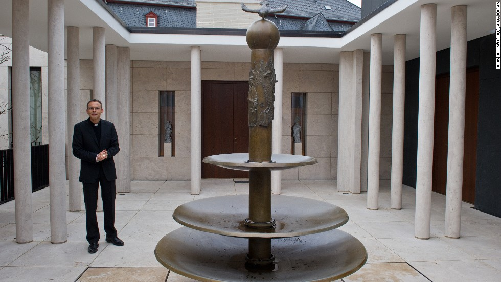 Tebartz-van-Elst in the inner courtyard of his residence in December 2012.