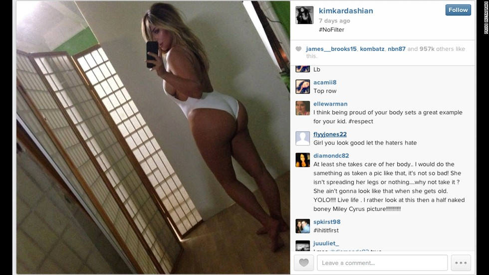 Kim Kardashian, reality TV darling and fiancee of rapper Kanye West, let the public in on her bathing-suit modeling session in a post on Instagram.
