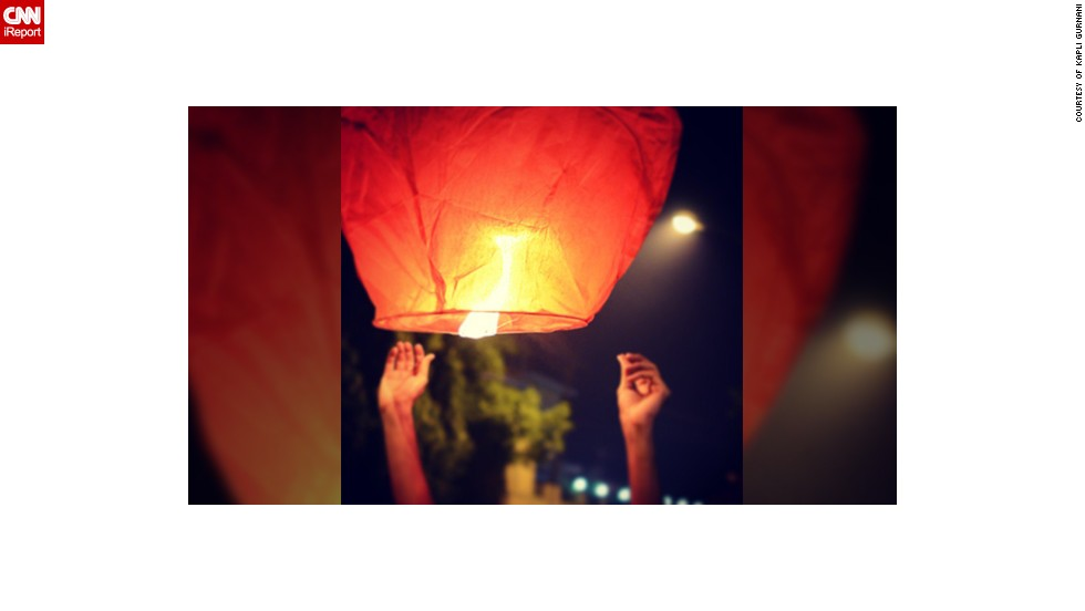 "This photo was taken during Diwali in 2011 when 17-year-old Kapil Gurnani and his brother decided to ditch the fire crackers for lanterns. ""My brother said that this is a way of enjoying Diwali with lights in a more peaceful way. We were up till late in the night lighting them. The lanterns kept flying in the air for hours, it was a very beautiful sight,"" said the student from Silvassa, in western India."