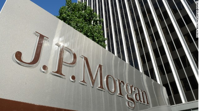 A JPMorgan sign is seen outside the office tower housing the financial services firm's Los Angeles, California offices, August 8, 2013.