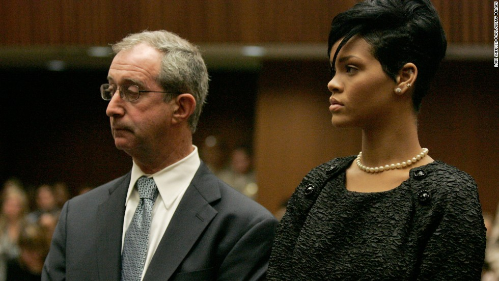 "<strong>June 2009: </strong>The judge asked Rihanna to appear in court to hear <a href=""http://www.cnn.com/2009/SHOWBIZ/Music/06/22/chris.brown.hearing/index.html"">details of the order requiring Brown to stay 50 yards away from her</a> -- 10 yards if the two appeared at the same industry event together. Here she appears with her attorney, Donald Etra."
