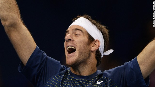 Juan Martin Del Potro shows how much victory over Roger Federer means to him as he takes the Basel title.