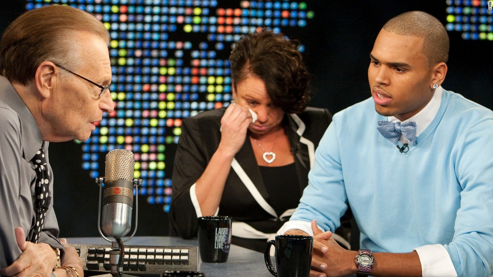 "<strong>September 2009:</strong> Brown and his mother appeared on CNN's ""Larry King Live"" in his first TV interview since his arrest. ""I've said countless times how sorry I am to Rihanna, and I just accepted full responsibility,"" Brown said. ""But it's just one of those things I wish I could have relived and just handled totally different."""