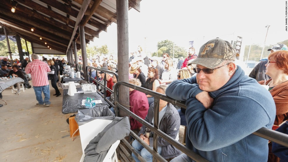 Fans gather in the stands to watch the judging, and around 25,000 people show up at the festival. Attendees may buy food at concession stands, but unless judges hand it over, they don't usually get to taste the food from the competition.