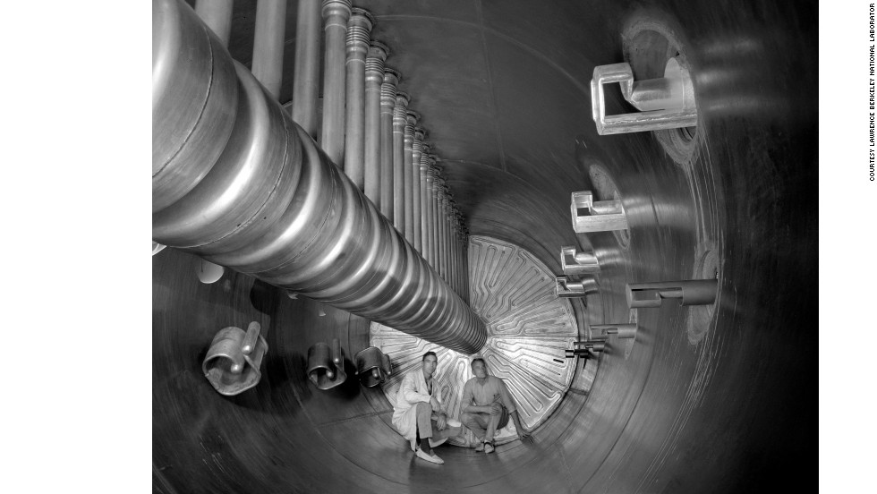 Two scientists show the scale of an earlier accelerator at the U.S. Department of Energy's Lawrence Berkeley National Laboratory. The Super HILAC (Super Heavy Ion Linear Accelerator) was one of the first accelerators that could accelerate the ions of all known natural elements to energies where they could be smashed apart. The lab is aptly named after Ernest Lawrence who invented the first circular accelerator at the University of California, Berkeley, back in 1929.