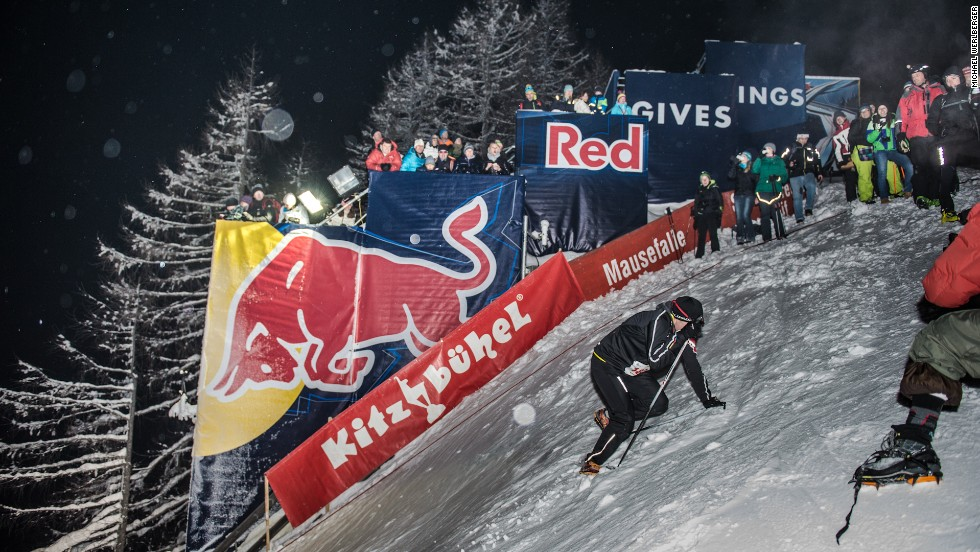 The Streif World Cup downhill course is renowned for its virtually vertical sections, hence it's almost uphill in the opposite direction -- meaning some competitors are forced to climb up on their hands and feet.