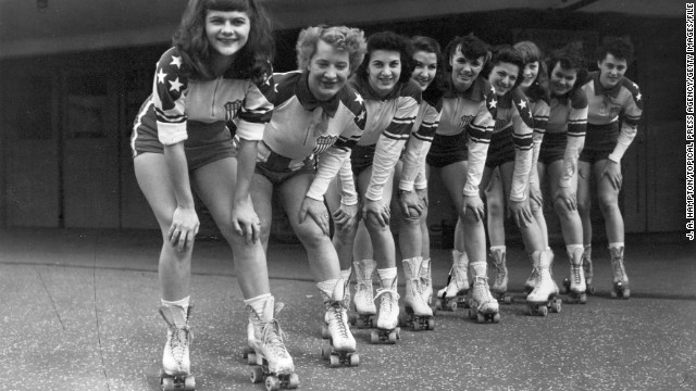 Girls of the New York Chiefs roller derby team in May 1953.
