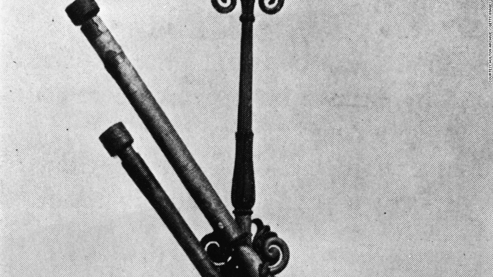 Here are two of the telescopes belonging to Italian astronomer Galileo Galilei, who was famous for the improvements he made to the instrument. With his advancements in observational astronomy he was the first to see craters on the moon and confirmed the four largest satellites of Jupiter.