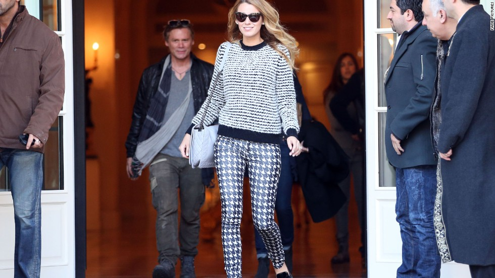 Blake Lively embraces sweater weather while in France on October 30.