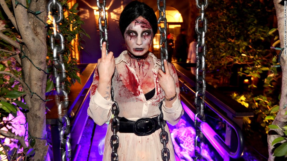 Demi Lovato was a bloody mess as a zombie at her Halloween party in West Hollywood, California.