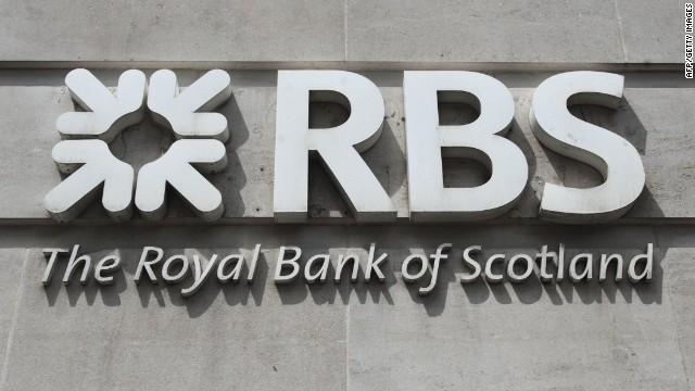 A file picture taken on June 14, 2013 shows signage of the Royal Bank of Scotland (RBS) in London.