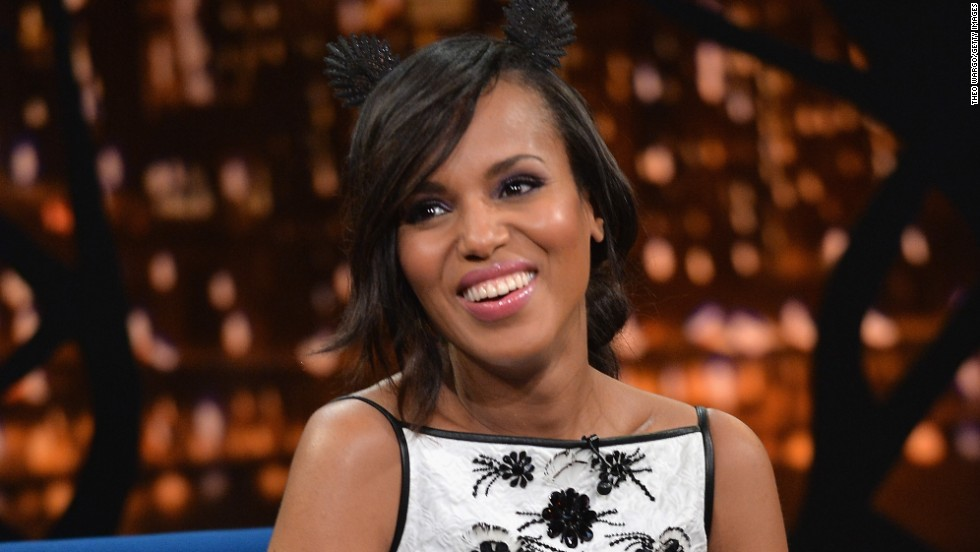 "Kerry Washington visits ""Late Night With Jimmy Fallon'"" at Rockefeller Center on October 31."