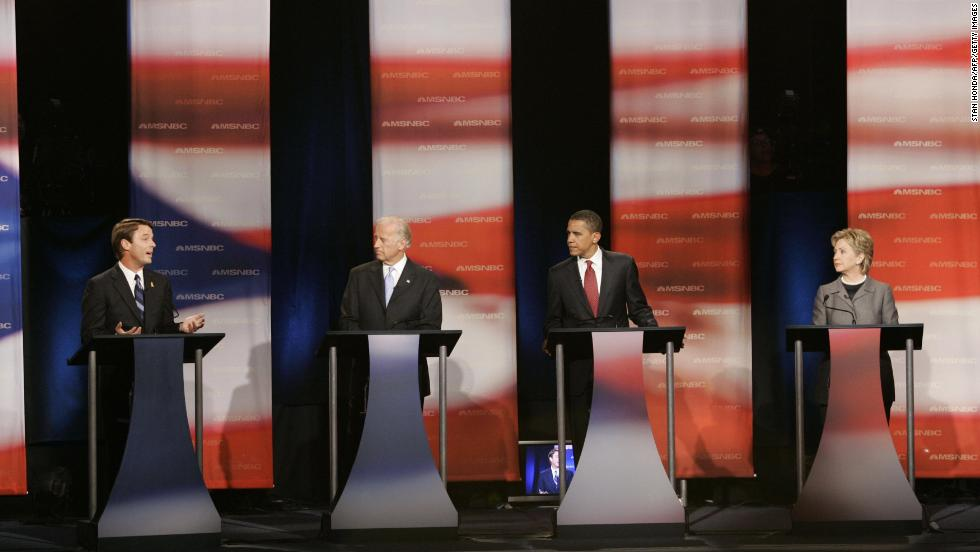 Biden, second from left, participates in a 2007 presidential debate with other Democratic candidates. With Biden, from left, are John Edwards, Barack Obama and Hillary Clinton.