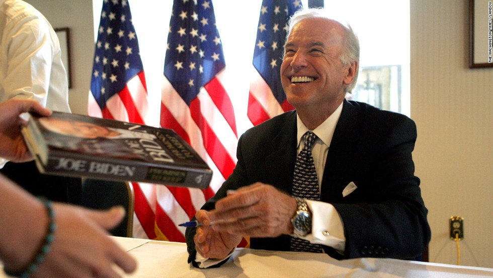 "Biden signs his book ""Promises to Keep"" at the National Press Club in Washington, DC, in 2007."