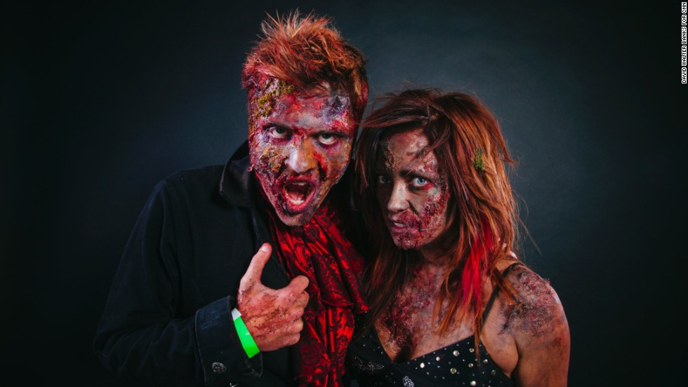 Erik Smoak and Sarah Kostelnik, both big con fans, dressed as zombies.