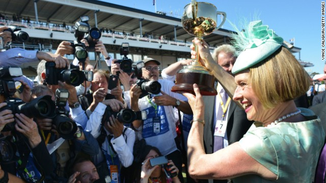 Gai Waterhouse celebrates her breakthrough victory in the Melbourne Cup at Flemington.