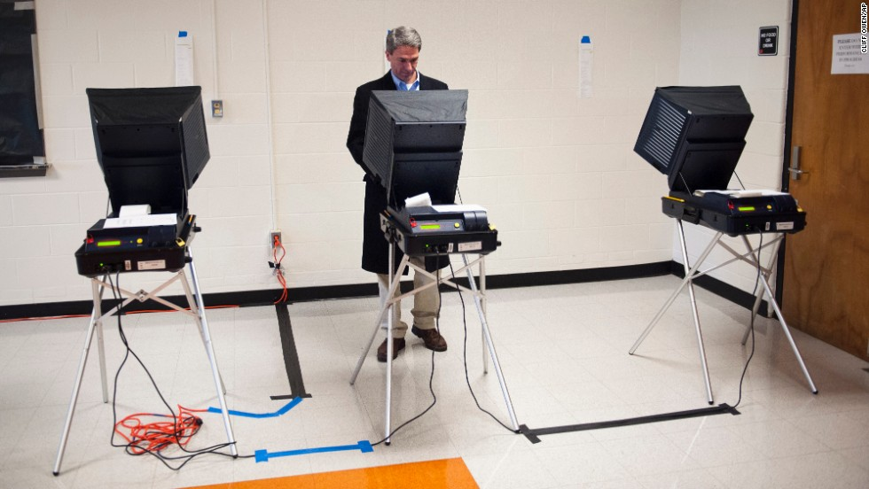 Virginia Attorney General Ken Cuccinelli, a Republican gubernatorial candidate, votes in Nokesville, Virginia.