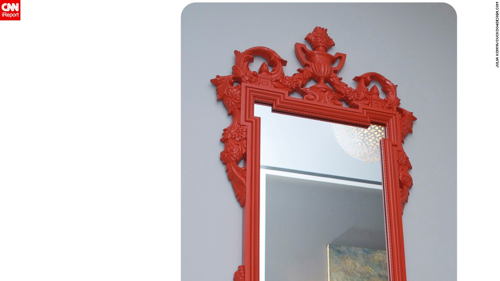 "This mirror was inspired by <a href=""http://cuckoo4design.blogspot.com"" target=""_blank"">blogger Julia Konya'</a>s husband's love for orange.  The frame adds a distinct border and color."
