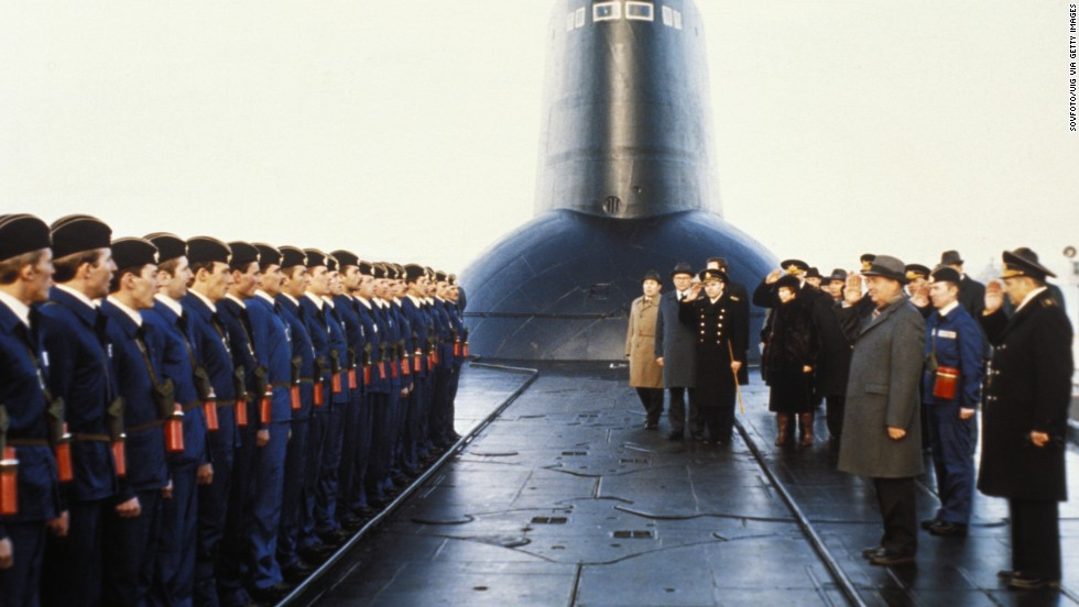 Gorbachev meets crew members of a nuclear submarine during a visit to Severomorsk, Soviet Union, in 1987.
