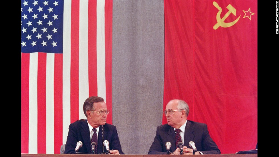 Bush and Gorbachev confer during a joint press conference concluding a two-day U.S.-Soviet summit in 1991 in Moscow.
