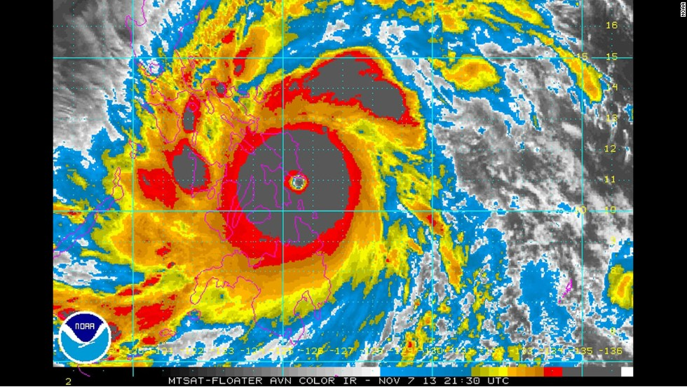 Super Typhoon Haiyan, one of the strongest storms ever recorded, made landfall in the Philippines on Friday, November 8. The storm had maximum sustained winds of 315 kph (195 mph) and gusts as strong as 380 kph (235 mph), officials said. That wind strength puts it well above the 252 kph (157 mph) threshold for a Category 5 hurricane, the highest category on the Saffir-Simpson hurricane wind scale.