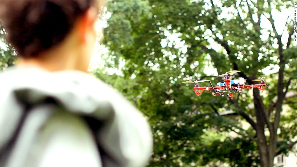 The flying robot uses your phone's GPS location to find you. It also features it's own in-built GPS to find destinations.