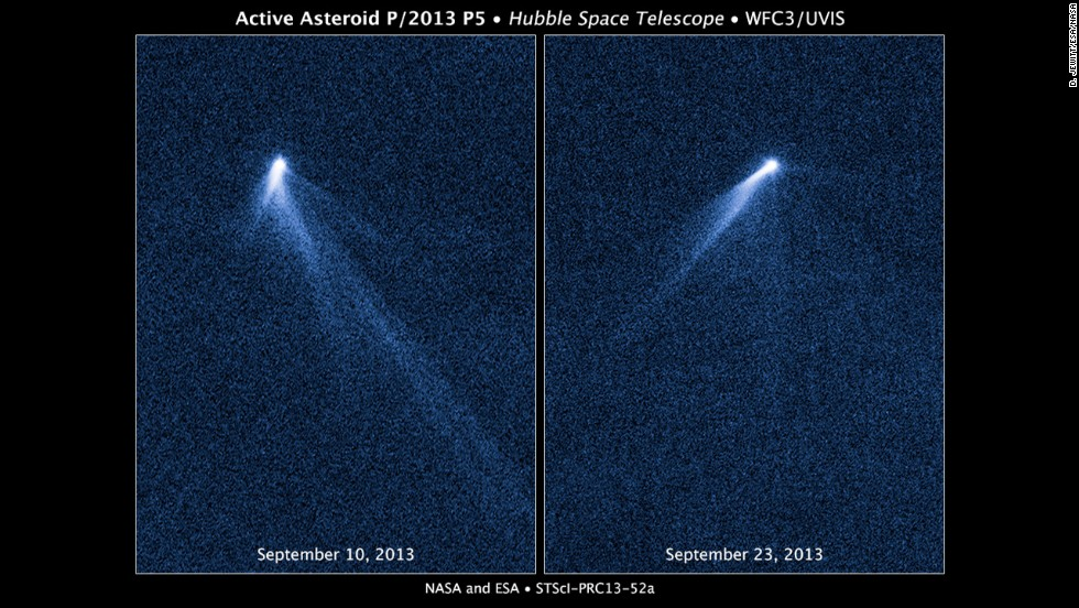 "The Hubble Space Telescope snapped a series of images on September 10, 2013, revealing a never-before-seen sight: An asteroid that appeared to have <a href=""http://www.nasa.gov/press/2013/november/nasas-hubble-sees-asteroid-spouting-six-comet-like-tails/#.VAilBPmwLYg"" target=""_blank"">six comet-like tails</a>."