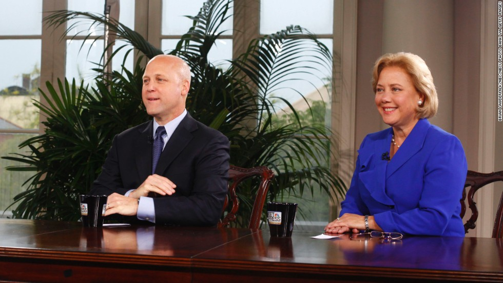 "New Orleans Mayor Mitch Landrieu and his sister, then-U.S. Sen. Mary Landrieu, are interviewed during a special edition of ""Meet The Press"" in New Orleans in 2010."