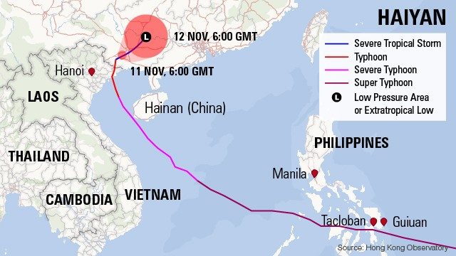Map: Typhoon's path