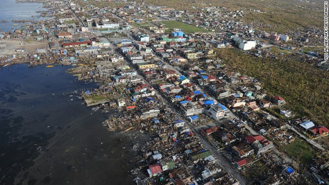 Aerial photo shows houses flattened by Typhoon Haiyan in the town of Guiuan in Samar province, central Philippines on November 11.