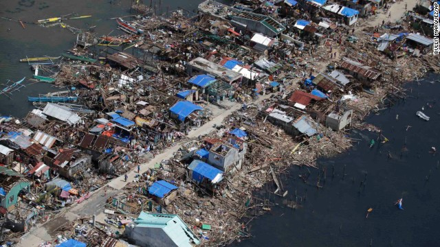 Homes lay in ruins in Guiuan on November 11.