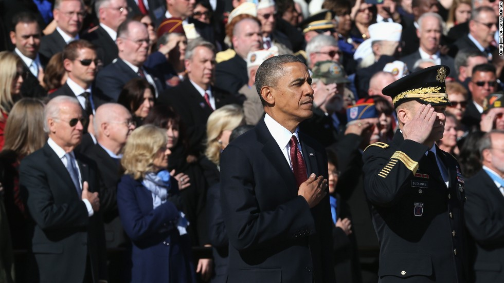 President Barack Obama looks on during a ceremony Monday at the Tomb of the Unknowns at Arlington National Cemetery.