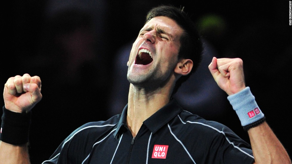 No.2 Djokovic shows how much victory means to him as he completes a straight sets demolition of top ranked Nadal.