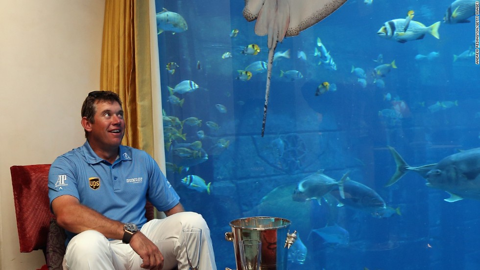 Westwood comes face-to-face with his new fishy friends in the underwater suite. No doubt there will be a pack of sharks circling to take the title off the 40-year-old in next year's competition.