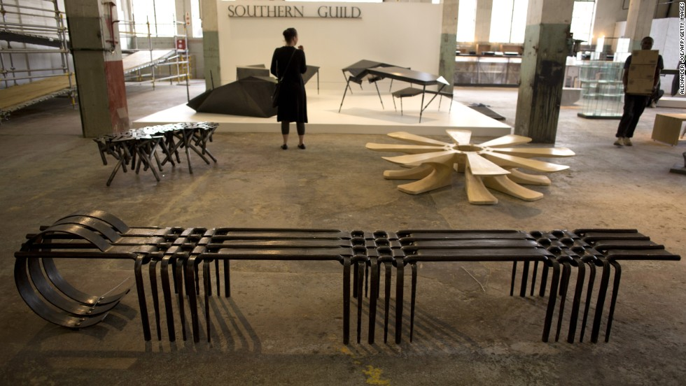 "The Johannesburg-based Museum of African Design opened its doors on October 24 showcasing the Southern Guild collection. Here, ""Woven Bench III'"" by South African artist Conrad Hicks."