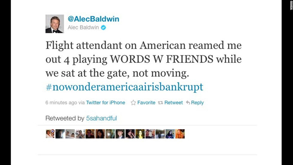 In 2011, the actor was booted from an American Airlines flight for refusing to turn off his cell phone after the doors had closed. He complained via Twitter that it was all about his playing the online game Words with Friends.