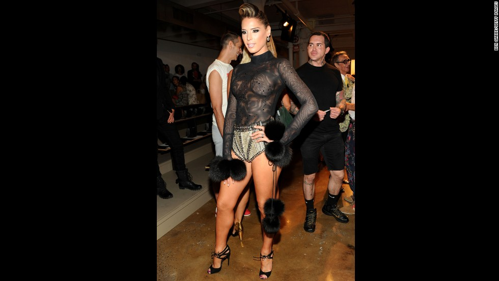 Transgender model and reality TV personality Carmen Carrera attends a fashion show in September 2013 in New York. That year, thousands of fans signed a petition requesting that she be a model during the 2013 Victoria's Secret Fashion Show, but the campaign was unsuccessful.