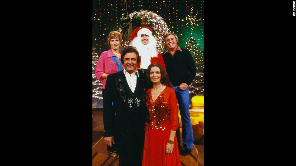 "Anne Murray, clockwise from upper left, Kaufman as Santa, Tom T. Hall, June Carter Cash and Johnny Cash appear on the ""Johnny Cash Christmas Special"" on CBS in 1979."
