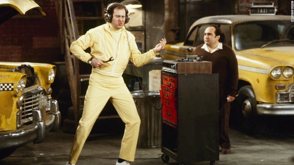 "Kaufman with Danny DeVito during the episode ""Latka the Playboy"" on ""Taxi,"" which aired on May 21, 1981. DeVito in 1999 produced a film about his co-star's life, titled ""Man on the Moon,"" and starring Jim Carrey as Kaufman."