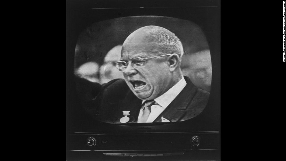 "Soviet Premier Nikita S. Khrushchev speaks to the East German Communist Party Congress on January 14, 1963. His public statements in Berlin indicated  the USSR did not immediately plan a full-scale revival of its efforts to force the Western occupation powers out of the former German capital. 1963 was a seminal year, not only because of the <a href=""http://www.cnn.com/2013/11/14/politics/gallery/jfk-the-day/index.html"" target=""_blank"">assassination of U.S. President John F. Kennedy,</a> but advances in technology, entertainment and evolving political relationships also kept the world on its toes."