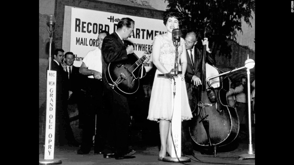 Patsy Cline performs at Nashville's Grand Ole Opry in this undated photo. The country music star and three others were killed in a plane crash March 5, 1963, near Camden, Tennessee.