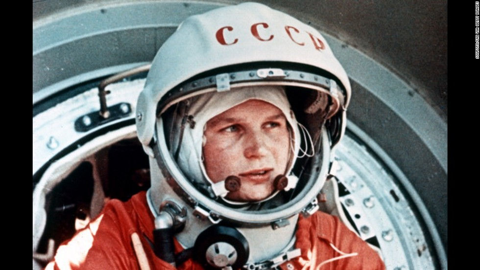 Soviet cosmonaut Valentina Tereshkova, the first woman in space, returns to Earth on June 19, 1963.