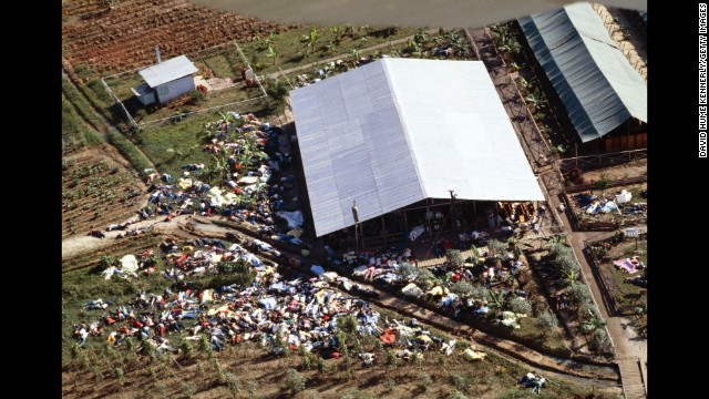 JONESTOWN, GUYANA - NOVEMBER 18:  (NO U.S. TABLOID SALES)  Dead bodies lie around the compound of the People's Temple cult November 18, 1978 after the over 900 members of the cult, led by Reverend Jim Jones, died from drinking cyanide-laced Kool Aid; they were victims of the largest mass suicide in modern history.  (Photo by David Hume Kennerly/Getty Images)