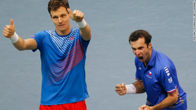 Tomas Berdych and Radek Stepanek celebrate their crucial victory in the doubles in the Davis Cup final to give the Czech Republic a 2-1 lead.