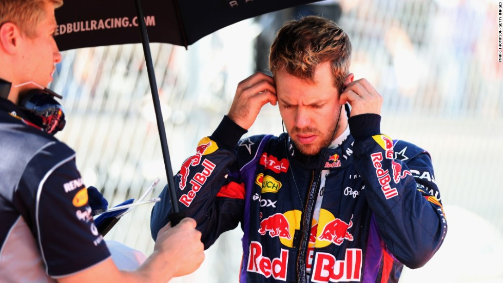 Vettel is a study of concentration before racing off from pole in the United States Grand Prix.