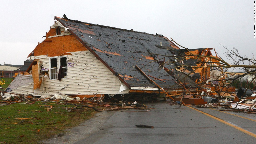 The roof of a building sits in the middle of the road in Kokomo, Indiana, on November 17.