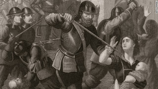 Oliver Cromwell's troops attack the town's civilians after the Siege of Drogheda in County Louth, September 1649.