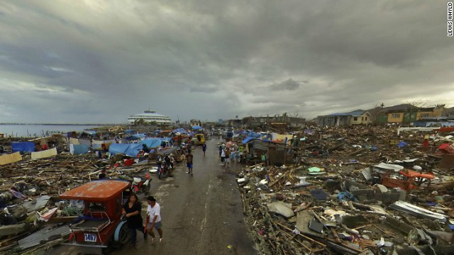 Destruction around the Philippines city of Tacloban.