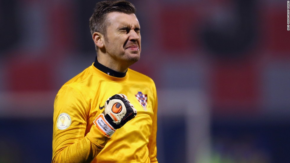 Goalkeeper Stipe Pletikosa is a picture of emotion as Mario Mandzukic, who would later be sent off, opens the scoring for Croatia in their 2-0 defeat of Iceland.